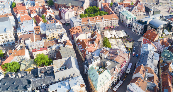 Old town Riga with pretty colored buildings